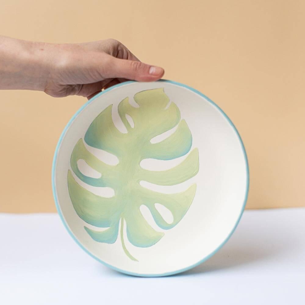 keramikpost-diskus-schale-blatt