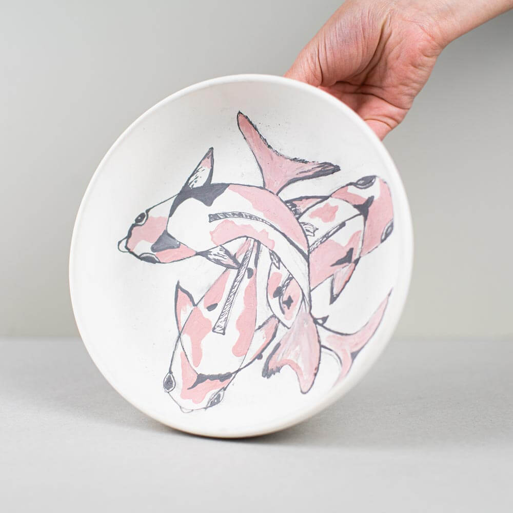 keramikpost-diskus-schale-koi-vorher
